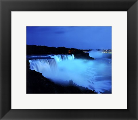 Framed Niagara Falls at night, Niagara Falls, New York Print