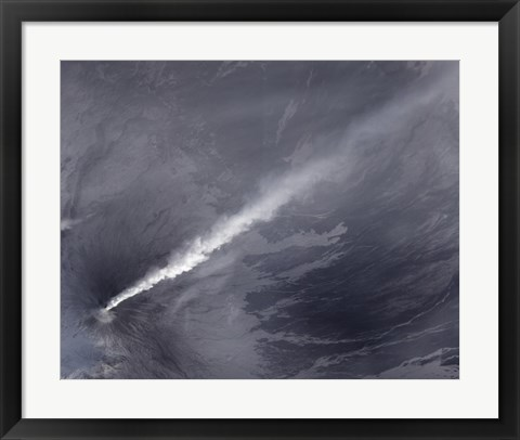 Framed Plume of Ash, Steam, and other Volcanic Gases stream from Klyuchevskaya Volcano Print