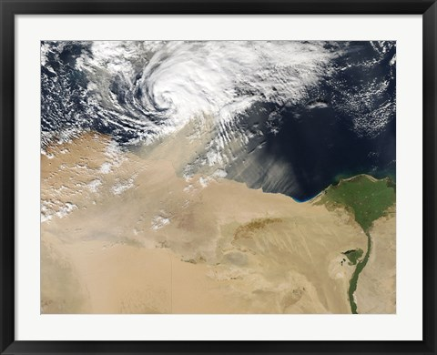 Framed Satellite View of a Dust Storm over Egypt Print