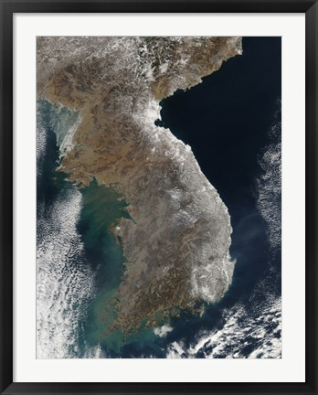 Framed Satellite View of Snowfall Along South Korea's East Coast Print