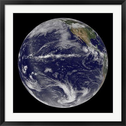 Framed Satellite Image of Earth Centered Over the Pacific Ocean Print