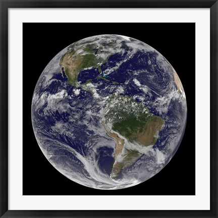Framed Full Earth Showing North America and South America with clouds Print