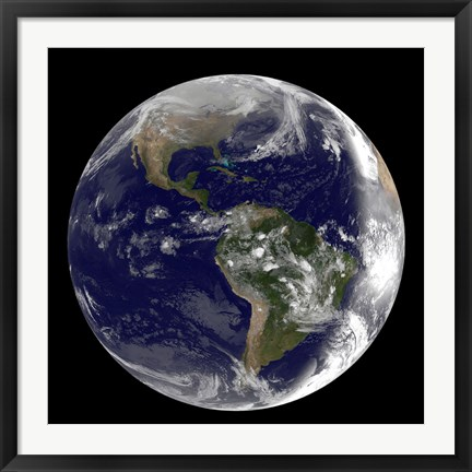 Framed Earth showing North America and South America Print