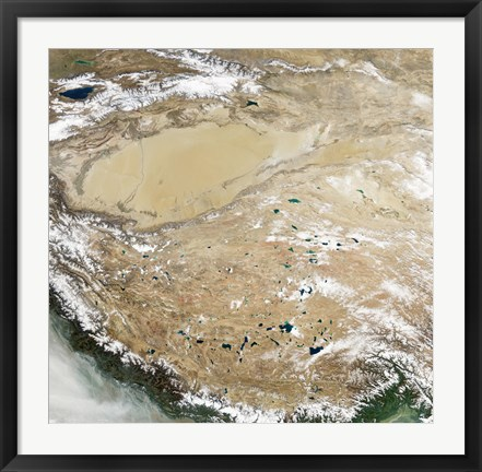 Framed Satellite View of the Tibetan Plateau Print