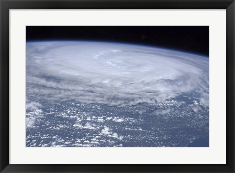 Framed View from space of Hurricane Irene off the East Coast of the United States Print
