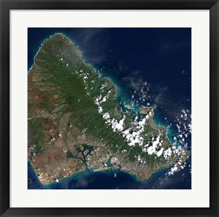 Framed Satellite view of Honolulu, Oahu, Hawaii Print