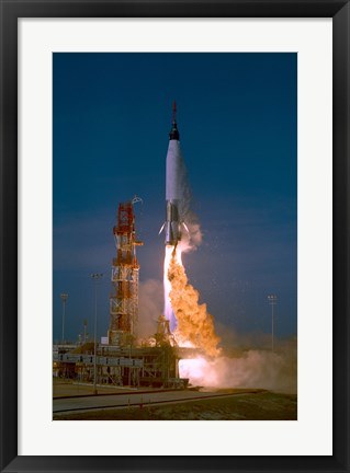 Framed Launch of the Mercury Atlas Unmanned Test Flight Print
