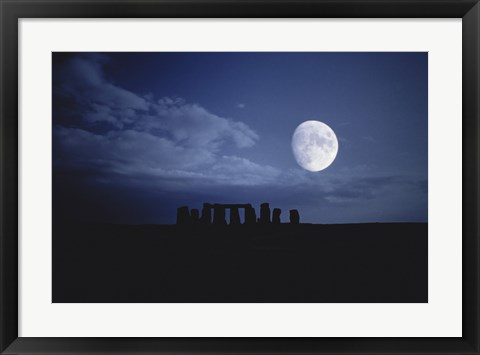 Framed Composite of the Moon over Stonehenge, Wiltshire, England Print