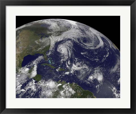 Framed Tropical Cyclones Katia, Lee, Maria and Nate in the Atlantic Ocean Print