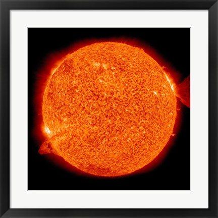 Framed Two Solar Prominences Erupt from the Sun Print