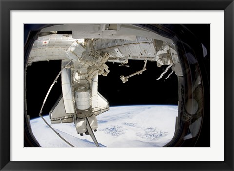 Framed docked Space Shuttle Discovery and Dextre Print