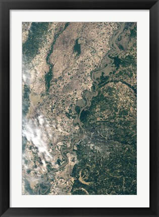 Framed Satellite Image of Flood Waters in Memphis, Tennesse Print