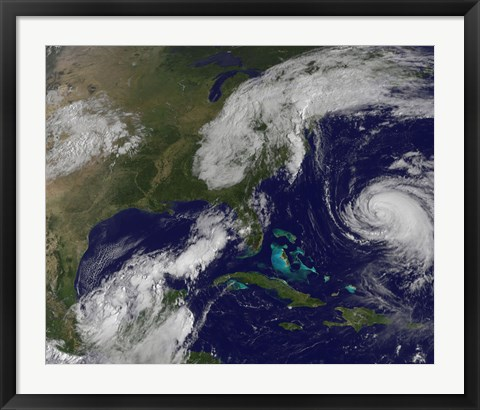 Framed Satellite view of Several Weather Systems in the Eastern United States Print