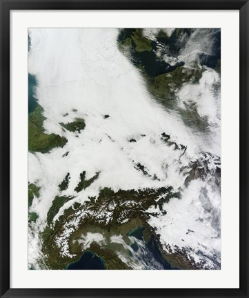 Framed Massive Cloudbank Sprawled over Central Europe Print