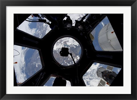 Framed View of Earth through the Cupola on the International Space Station Print