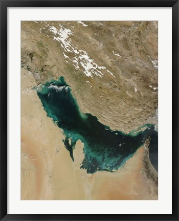 Framed Satellite view of the Persian Gulf Print