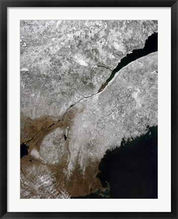 Framed Satellite view of a Frosty Landscape Across Northern New England and Eastern Canada Print