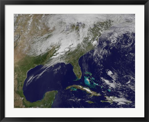 Framed Satellite Image Showing Severe Thunderstorms and Tornados in the Eastern United States Print
