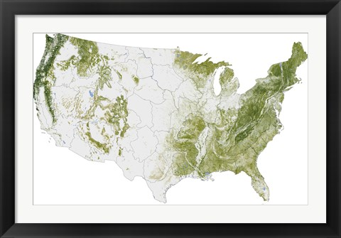 Framed Map of the United States Showing the Concentration of Biomass Print