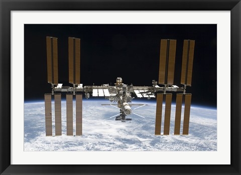 Framed International Space Station in Orbit Above Earth Print