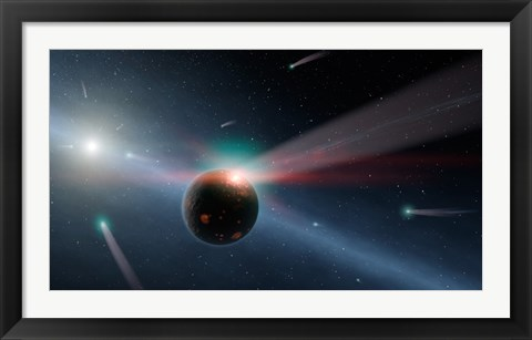 Framed Artist's conception of a Storm of Comets in the Eta Corvi System Print