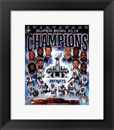 Framed New England Patriots Super Bowl XLIX Champions Composite Print