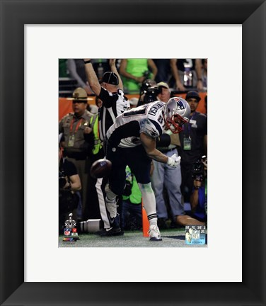 Framed Rob Gronkowski Touchdown Celebration Super Bowl XLIX Print