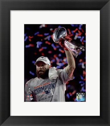Framed Julian Edelman with the Vince Lombardi Trophy Super Bowl XLIX Print
