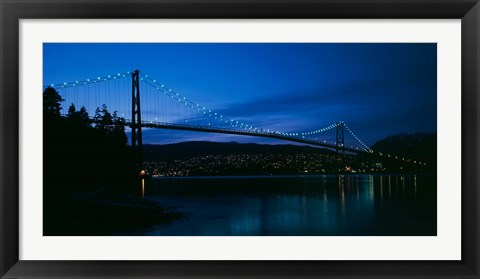 Framed Lions Gate bridge at night, Burrard Inlet, Vancouver, British Columbia Print