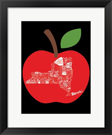Framed NY apple Print