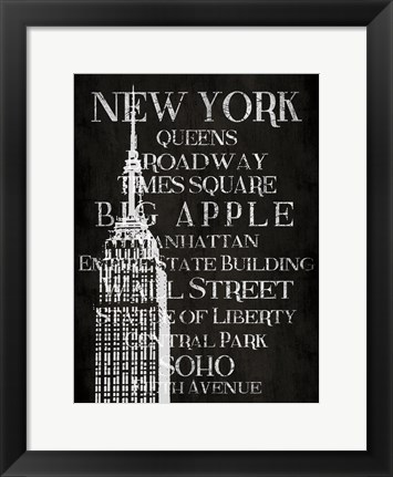 Framed Black & White New York Print