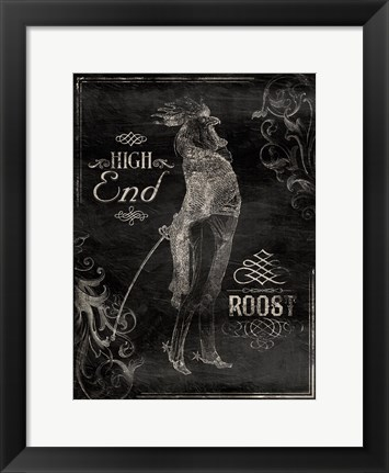 Framed High End Rooster Cream (vertical black) Print