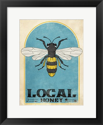 Framed Retro Bee Print