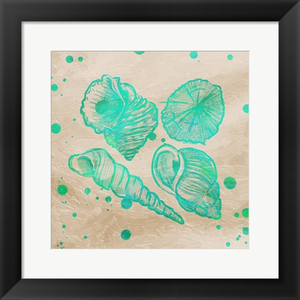 Framed Splat Shells on Sand I Print