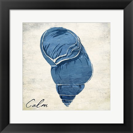 Framed Inspirational Blue Shell I Print