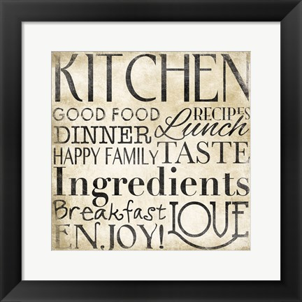 Framed Black Kitchen Type I Print