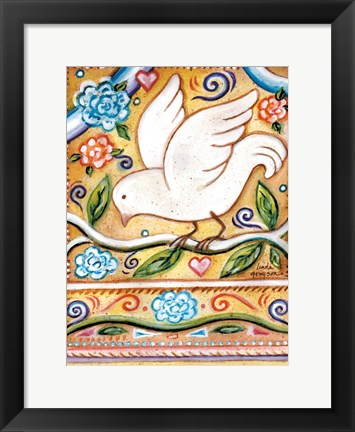 Framed White  Bird 1 with Border Print