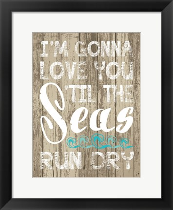 Framed Coastal Love Brown 03 Print