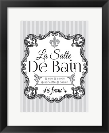 Framed French Grey Bath 2 Print