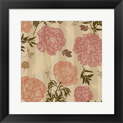 Framed Vintage Floral Stripe set 01 Print