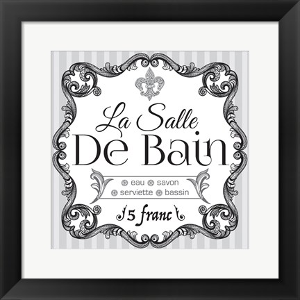 Framed French Bath Set 02 Print