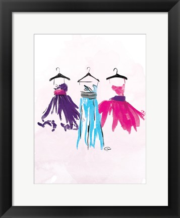 Framed Watercolor Dresses I Print