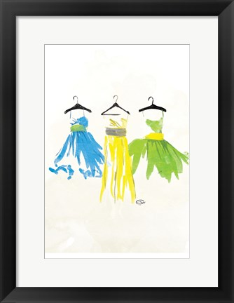 Framed Watercolor Dresses II Print