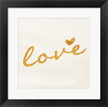 Framed Gold White Love Print