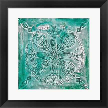 Framed Teal Scroll Print