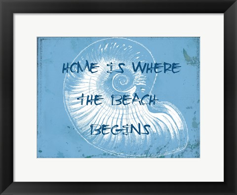 Framed Home At The Beach Print