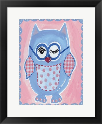 Framed Blue Owl Print
