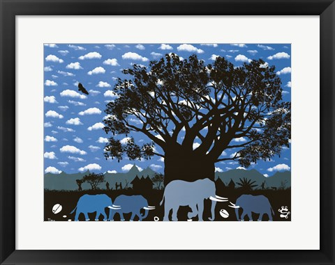 Framed Elephant Herd and Cloudy Sky Print