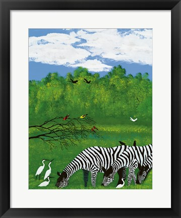 Framed Zebras in the Savanna Print