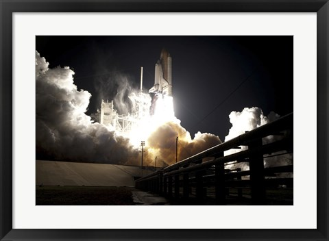 Framed Space Shuttle Endeavour lifts off into the Night Sky from Kennedy Space Center Print